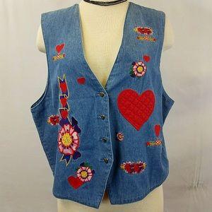 Karen Scott Heart Love Patch Denim Vest Large